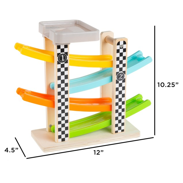 Toy Race Track and Racecar Set- Wooden Car Racer