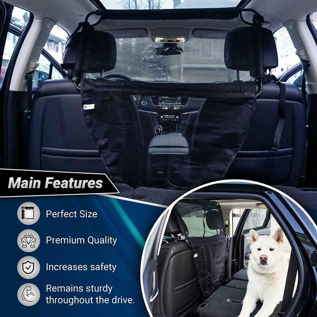 Zone Tech Car Pet Full Mesh Barrier Cover Cage Large Padded With Steel