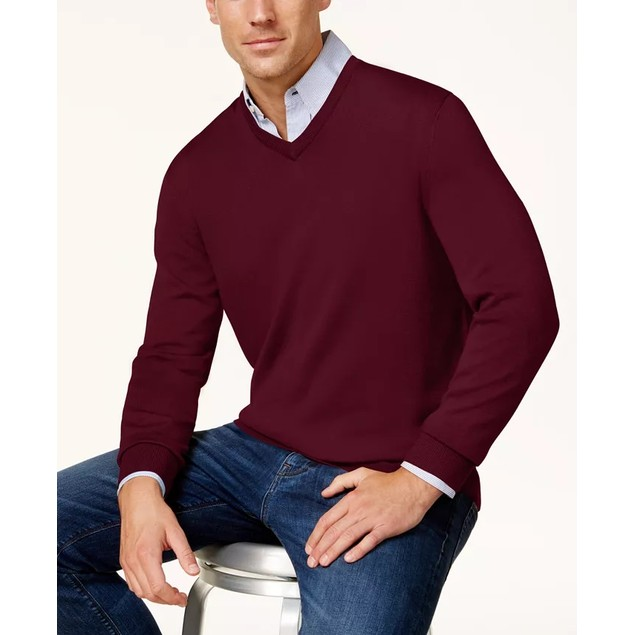 Club Room Men's Solid V Neck Merino Wool Blend Sweater Purple Size Small