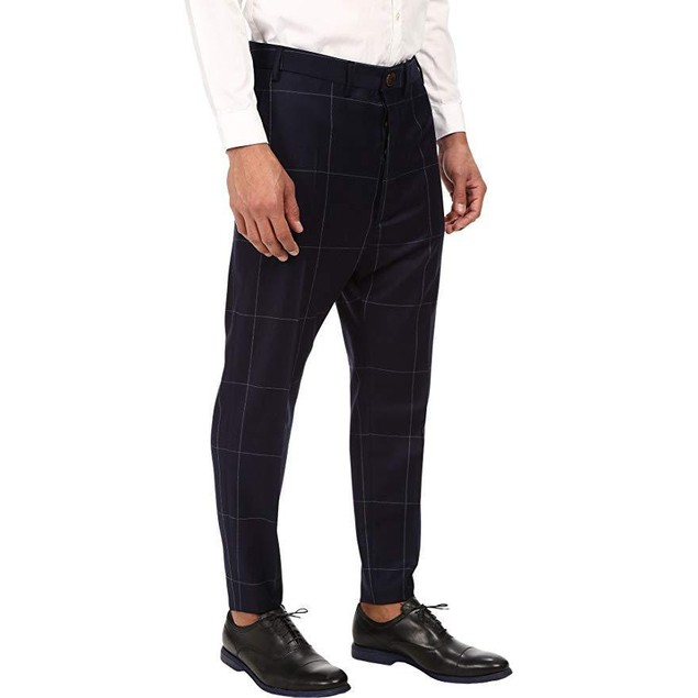 Vivienne Westwood Men's Window Pane Trousers Navy 48 (US 31.9) X 28
