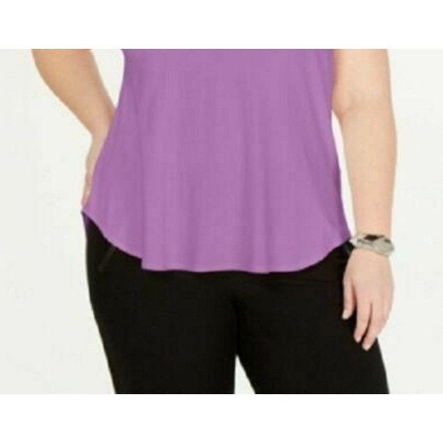 Alfani Women's Plus Satin-Trim High-Low T-Shirt Purple Size 3X