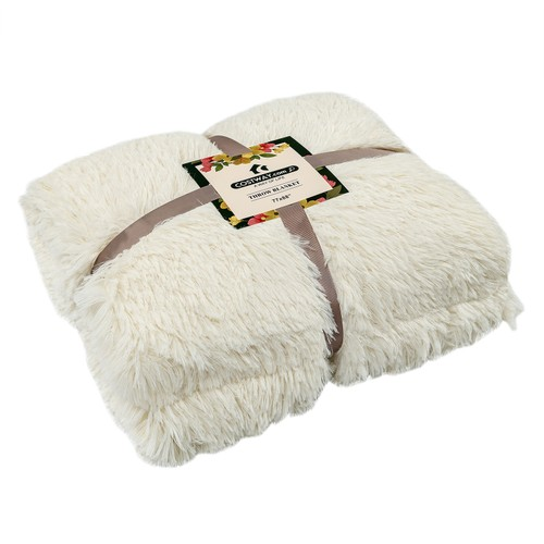 """Double Sided 88"""" x 77"""" Fuzzy Shaggy Fur Bed Throw, Fluffy Cozy Reversible B"""
