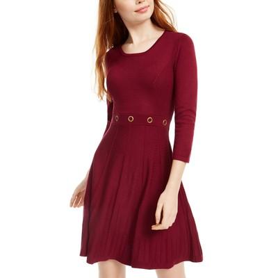 BCX Juniors' Grommet-Waist Fit & Flare Dress Red Size Large