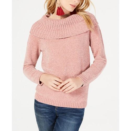 INC International Concepts Women's Cowl-Neck Chenille Sweater Rose Medium