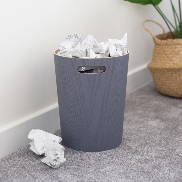 Wooden Waste Paper Bin | MandW Grey