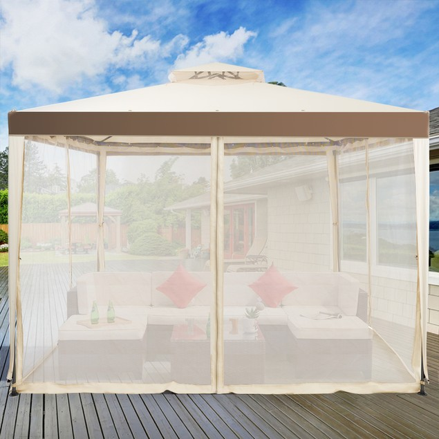 10'x 10' 2-tier Canopy Gazebo Tent Outdoor Netting Picnic Party Sun Shade