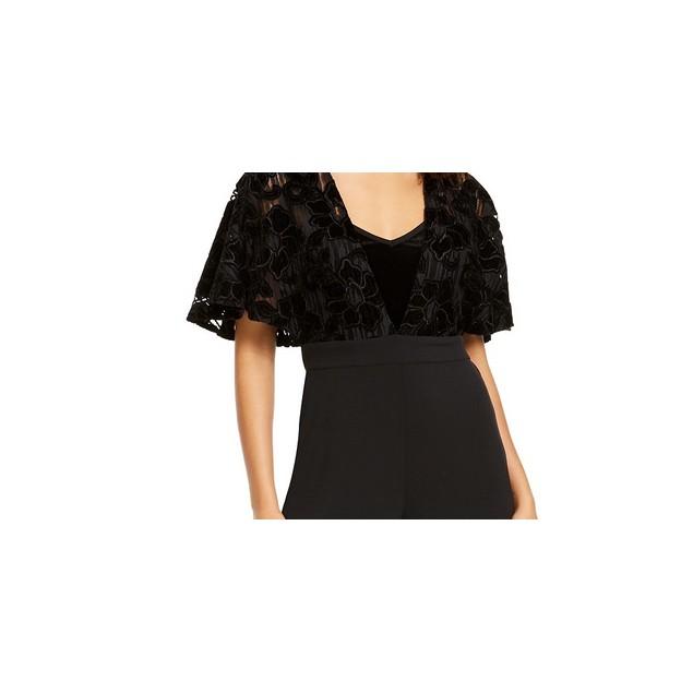 Thalia Sodi Women's Lace-Mesh Surplice Jumpsuit Black Size Medium
