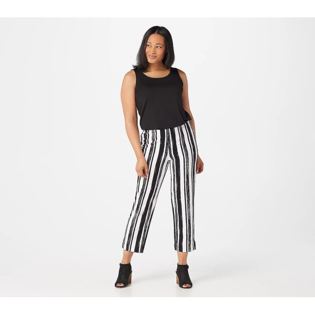 Dennis Basso Printed Luxe Crepe Pull-On Pants, X-Large, Black Stripe