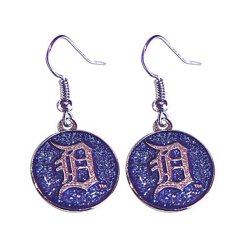MLB Detroit Tigers Glitter Sparkle Dangle Logo Earring