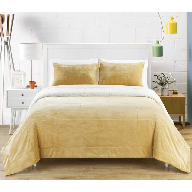 Naomi 2/3-Piece Plush Microsuede Sherpa Blanket, Pillow Shams Included