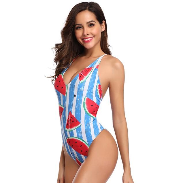 Watermelon Print 1 Piece Swimsuit