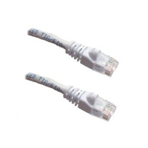 White - CAT5E Ethernet Patch Cable Molded Snagless Boots  - 1 Foot