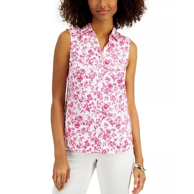 Charter Club Women's Toile-Print Sleeveless Shirt Dark Pink Size 16