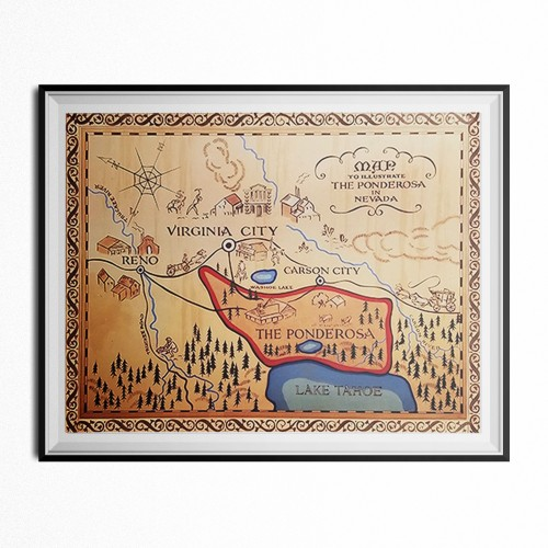 The Ponderosa Ranch Map Poster 11 x 17
