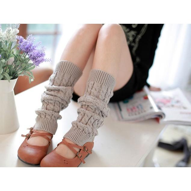 Fashion Women Winter Warm Leg Warmers Knitted Crochet Long Socks