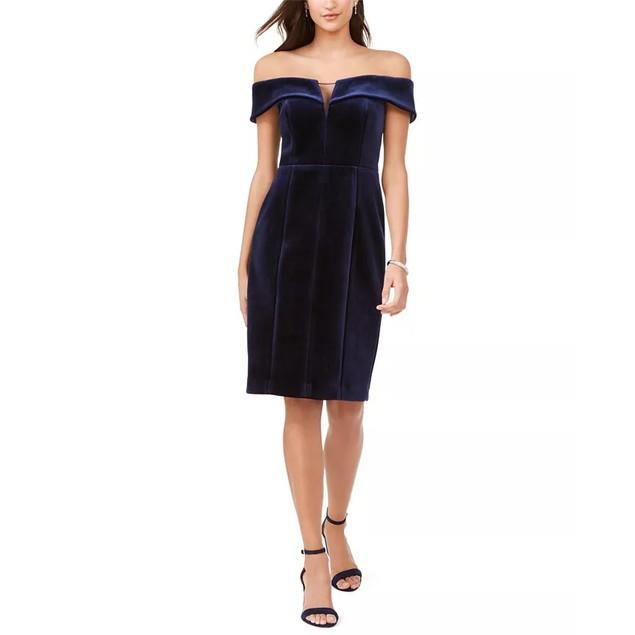 Vince Camuto Women's Strapless Velvet Dress Navy Size 12