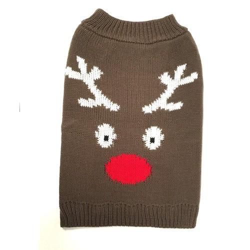 Midlee Reindeer Face Dog Sweater