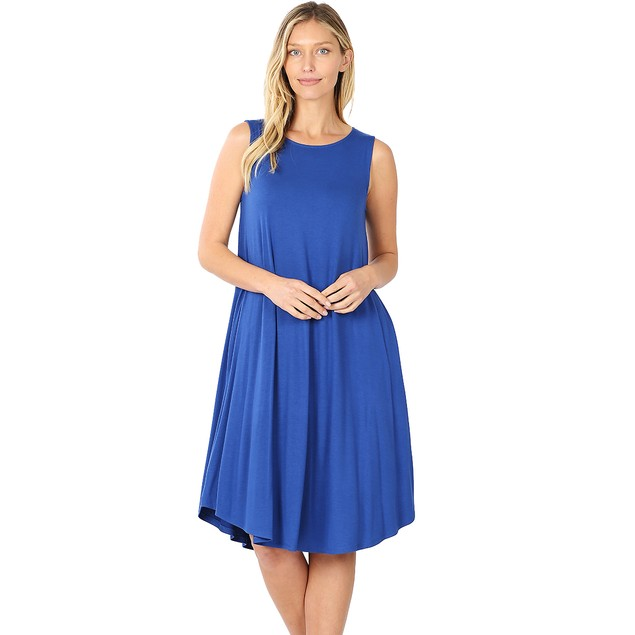 Viscose Round Neck Sleeveless Knee Length Dress with Pockets