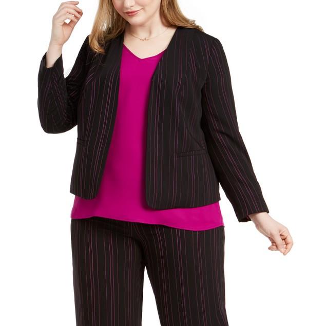 Bar III Women's Trendy Plus Size Striped Blazer Black Size 1X