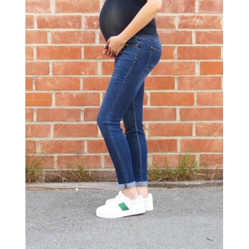 Dark Wash Cuffed Maternity Skinny Jean