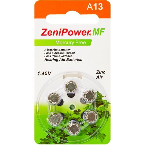 ZeniPower Size 13 MF Zinc Air Hearing Aid Batteries (60 pack)