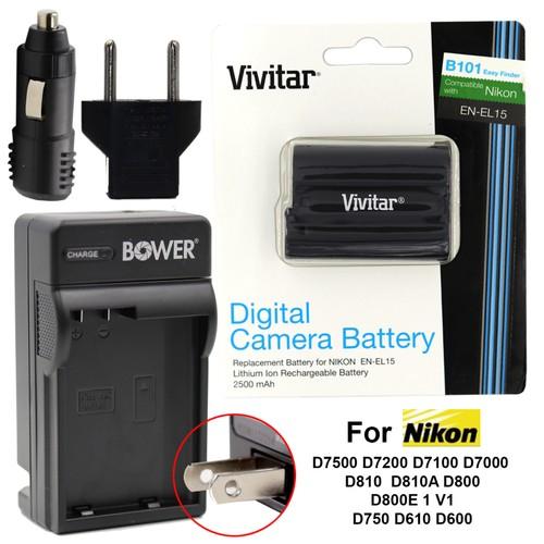 Vivtar OEM ENEL15 Battery and Charger Kit for Nikon D7500 D7200 D7100 D7000 D810 D750 D610