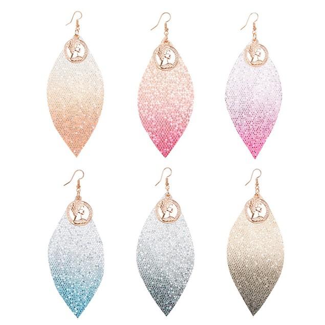Fashion Multicolor Faux Leather Sequins Long Dangle Hook Earrings Decor