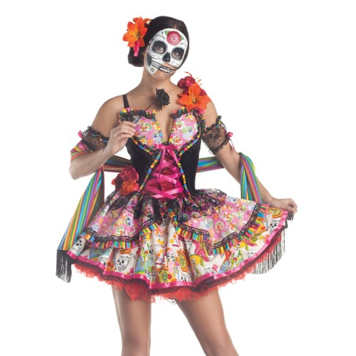 Day of the Dead Womens Costume Dia De Los Muertos Mexico Sexy Skull Mexican