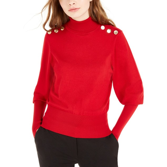 BCX Women's  Buttoned Turtleneck Sweater Red Size Large