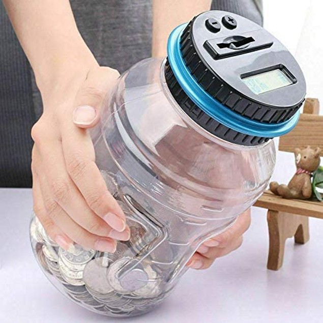 Digital Coin Bank Jar Coin Counter Storage, 1.8L