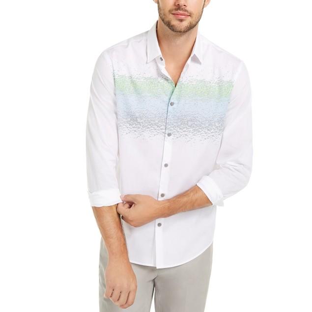 Alfani Men's Classic-Fit Abstract-Stripe Shirt White Size Medium