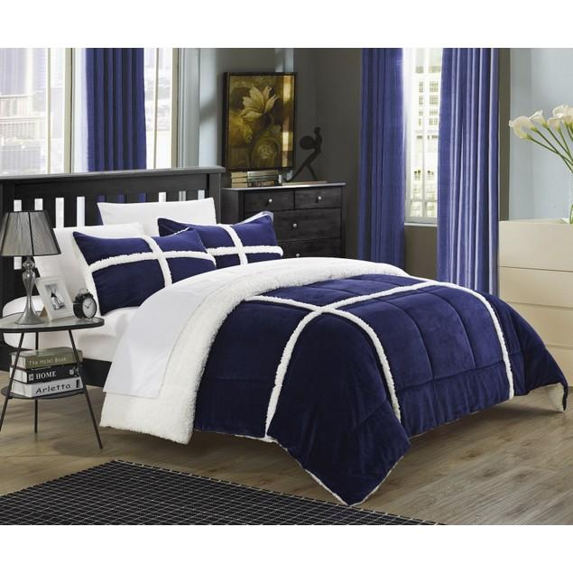 Chic Home 3 Piece Carterina Mink, Sherpa Lined Comforter Set