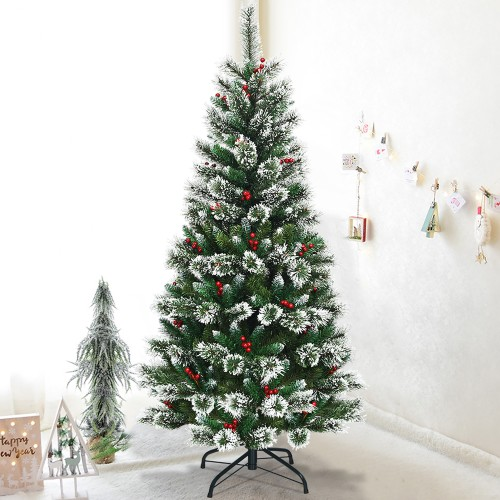 Costway 6 ft Snow Flocked Artificial Christmas Hinged Tree w/ Pine Needles