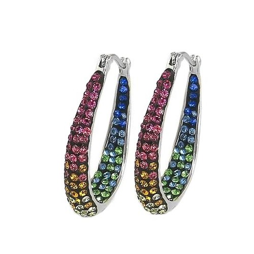 Austrian Crystal Rainbow Hoop Earrings