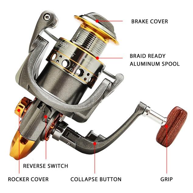 Spinning Fishing Reel Metal Spool Wheel Saltwater Freshwater Fishing DC5000