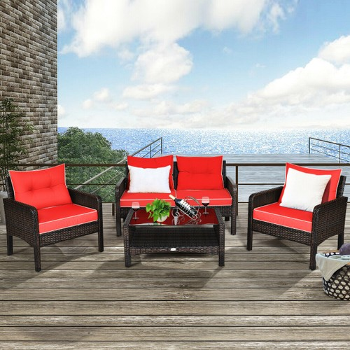 Costway 4PCS Patio Rattan Patio Set With Coffee Table