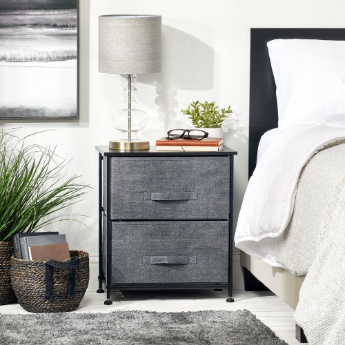 mDesign Night Stand / End Table Storage Tower with 2 Drawers