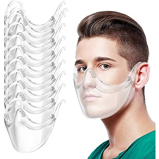 Multi-Pack:Clear Combine Plastic Reusable Clear Face Mask for Adults (No Fogging)
