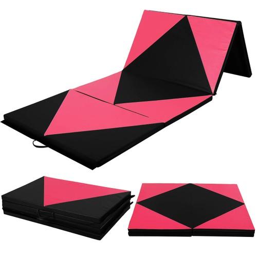"Super buy 4'x10'x2"" Thick Folding Panel Gymnastics Mat Gym Pink/Black"