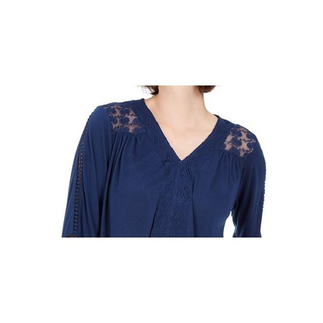 Style & Co Women's Lace-Back Crochet Top Navy Size Medium