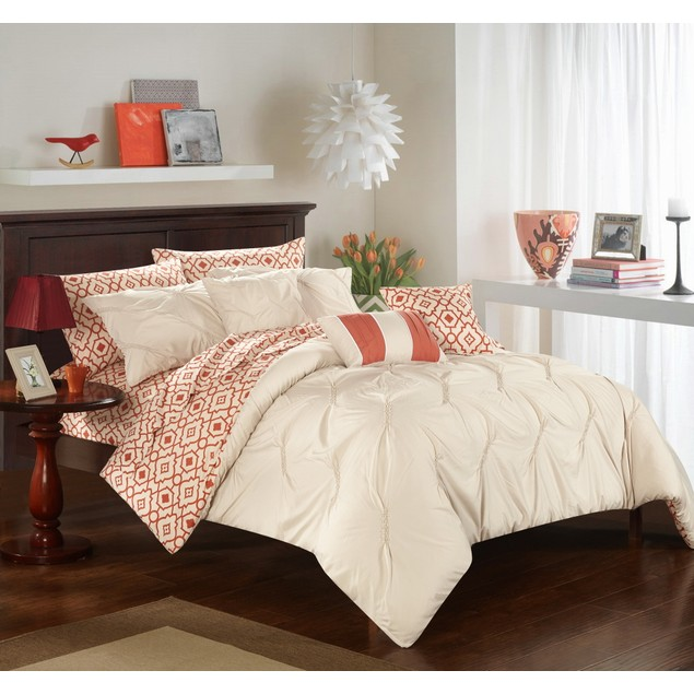 Chic Home 10 Piece April Pinch Pleat Design Reversible Comforter Set