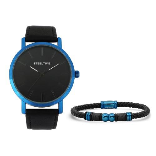 Bracelet & Blue IP Watch Set W/Bracelet W/ IP Plated Steel Bead Accents