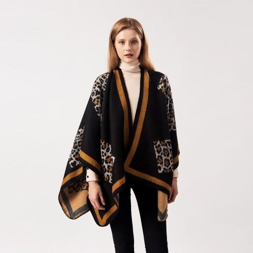 Ladies Leopard Print Versatile Dual-Purpose Shawl Cloak