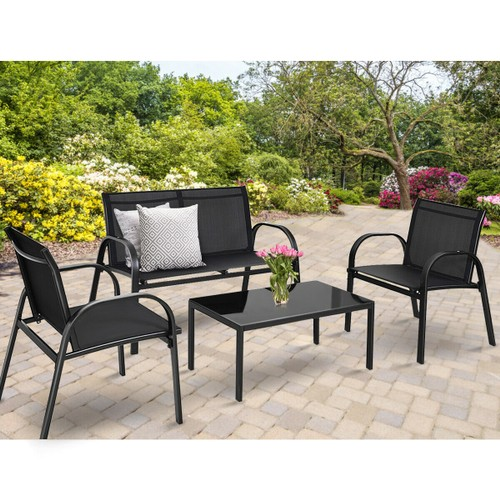 Costway 4 PCS Steel Frame Garden Deck Set With Coffee Table