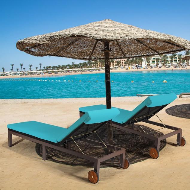 2PC Patio Rattan Lounge Chair Chaise Recliner Back Adjustable W/Wheels Cush