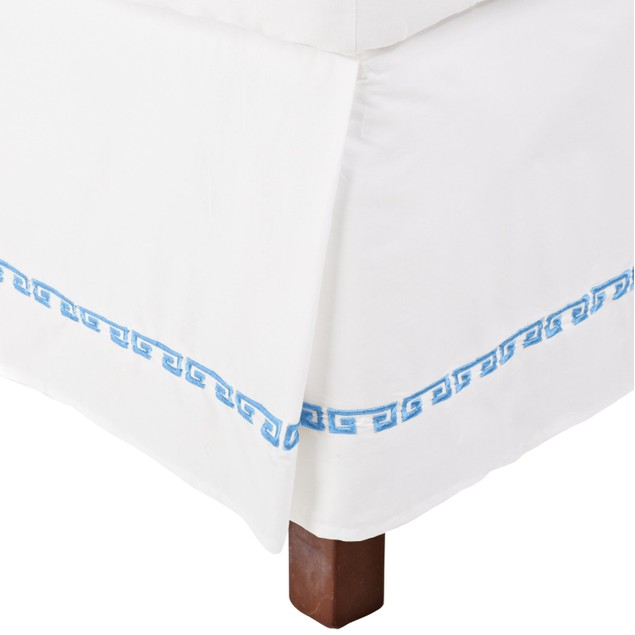 """Kendell Embroidered Long-Staple Cotton Bed Skirt, 15"""" Drop"""