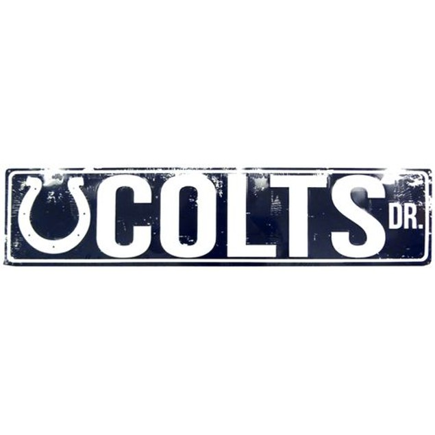 """Indianapolis Colts NFL Colts Drive """"Distressed"""" Metal Street Sign"""