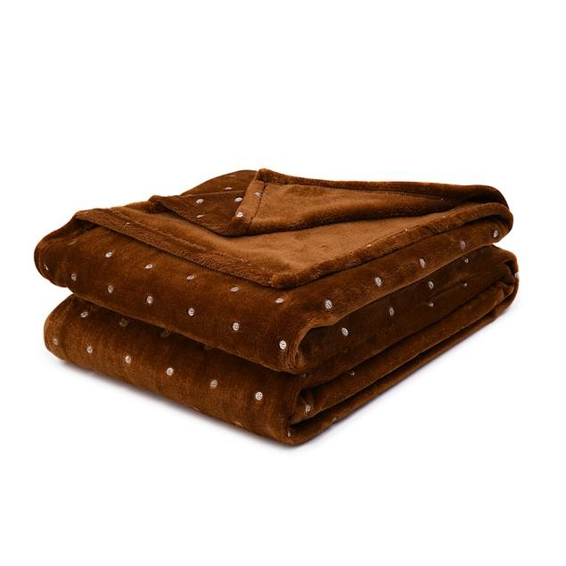 Braham Polka Dot Print Fleece Throw Blanket
