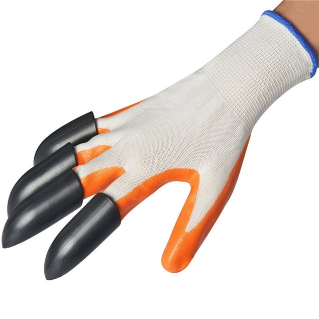 1 pair Gardening Gloves for Digging Planting with 4 ABS Plastic Claws