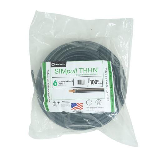 Southwire 100 Ft 6 Stranded CU SIMpull THHN Soft Drawn Copper Wire, Black